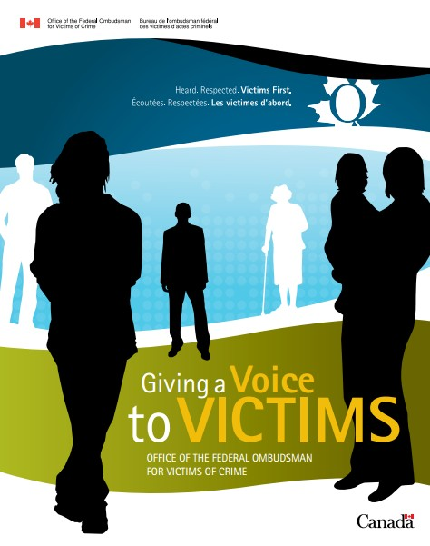 Title image of various human silhouettes with the title Giving a Voice to Victims