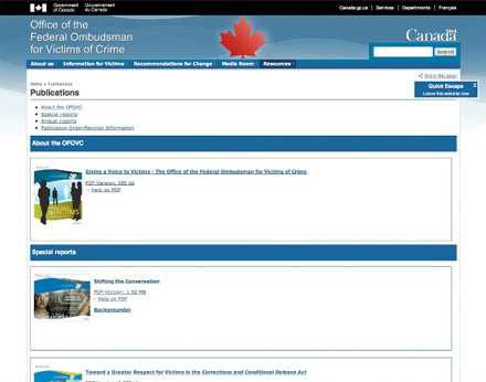 A snapshot of the publications section of Office of the Federal Ombudsman for Victims of Crime's website